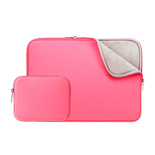 RAINYEAR 13 Inch Laptop Sleeve Soft Case Bag with Accessories Pouch,Specially Compatible with 2019 2020 New Model 13.3 MacBook Air/Pro A1932 A1706 A1708 A2159 A2179(Bright Pink,Upgraded Version)