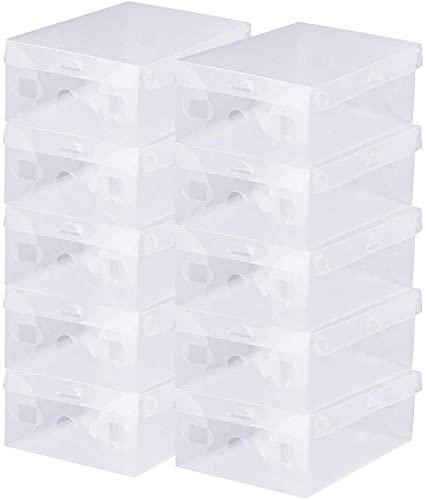 BUZIFU Cajas de Zapatos Transparentes, 20 unidades Cajas Plastico Zapatos, Caja para Zapatos Apilable, Hasta La Talla 39, Caja para Guardar Calzado de Muchos Tipos, Zapatillas, Tacones y Botas Cortas