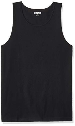 Amazon Essentials - Camiseta lisa sin mangas de corte entallado para hombre, Negro, US S (EU S)