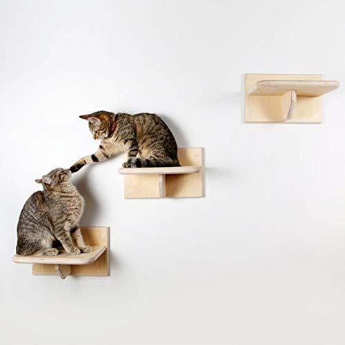 househome Katzen Kletterwand Katzentreppe Katzenstufe Wandpark, Platzsparende Stabile Wall Katzenmöbel Steps 1 Stück, Katzen Kletterwand Aus Natürlich Holz Für Die Wand
