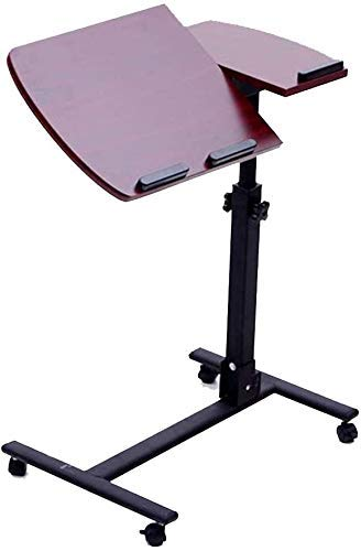 Nest of Tables Mesas auxiliares Lapdesks Soporte para computadora portátil Carro de Escritorio con Tablero para Mouse Altura Ajustable 360 ​​° Giratorio y 180 & deg; Ruedas inclinables con b