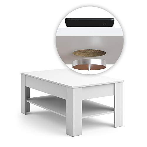 Vicco Couchtisch mit Schublade 110 x 65 cm - Beistelltisch Sofatisch Kaffeetisch Wohnzimmertisch (Weiß mit QI Ladestation)