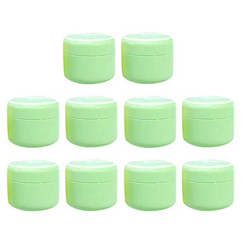 Homyl 10 pièces Pot Vide Cosmétique en Plastique Récipient Cosmétique pour Stockage Boîte de Crèmes Onguents Toners avec Couvercle - Vert-20g
