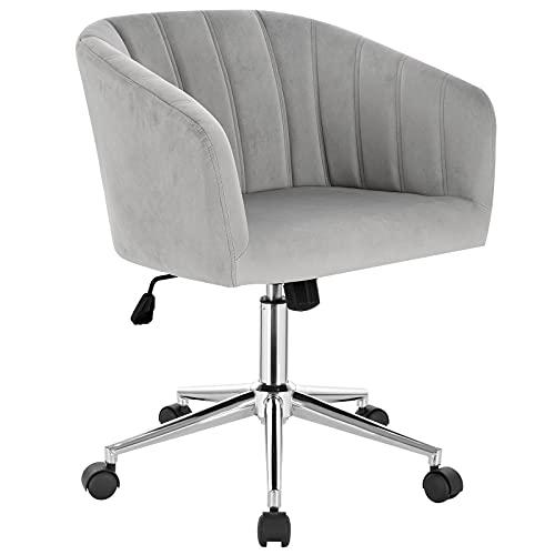 WOLTU BS115hgr 1 x Bürohocker Arbeitshocker Schreibtischstuhl aus Samt Rollhocker Drehhocker Ergonomisch Bürostuhl Höhenverstellbar mit Armlehne Hellgrau