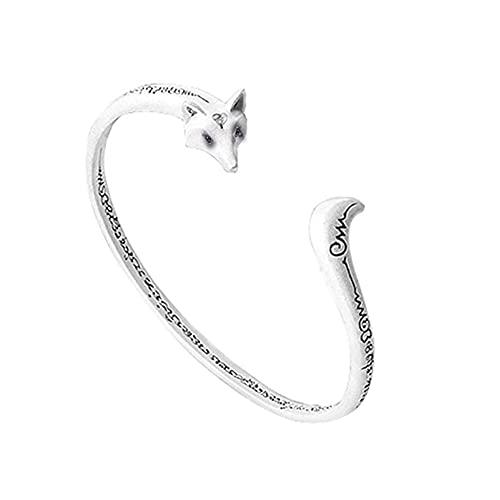 N\A Damenarmbänder, Armbänders Mode Kleiner Fuchs Süße Tiere Armband S925 Silber Öffnung Verstellbarer Manschettenarmband Armbänder Schmuckzubehör Für Damen