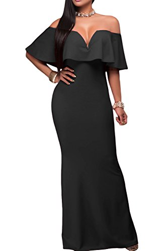 AlvaQ Women's Sexy V Neck Ruffle Off Shoulder Evening Long Maxi Party Dress Prom Gown Black (Apparel)