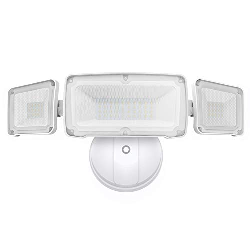 LEPOWER 3500LM Dusk to Dawn LED Security Lights Outdoor, 35W Super Bright Flood Light Outdoor with Photocell, 3000K, IP65 Waterproof 3 Head Exterior Light for Garage, Porch, Yard (NO Motion Sensor)