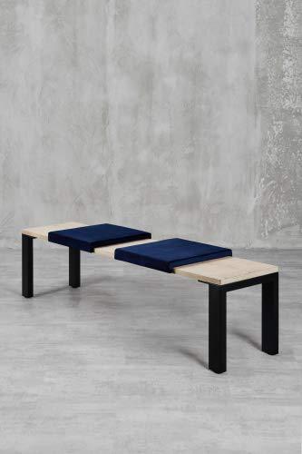 carla&marge Klemm-Kissen Sense - 2er Set - 44x6x44 cm - weiches Sitz-Kissen, Samtkissen für Sitzbanktiefe 40 cm - Farbe: Dunkelblau
