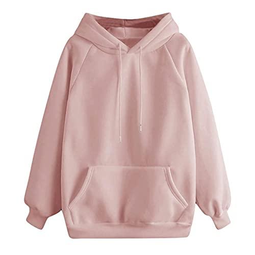 Sweatshirts Women, VISLINDU Womens Long Sleeve Hooded Tops Cute Solid Color Teen Girls Hoodies Pullover Sweater Pink