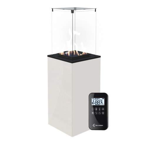 Kratki Gaskamin Patio Mini Glas Weiss Ferngesteuert Gasheizgerät Wärmelampe 4-8,2 kW