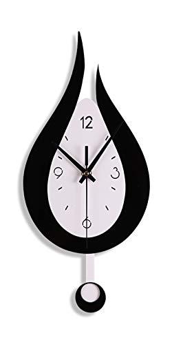 Wanduhren mit Pendel Modern Wohnzimmer Wanduhr, 20,4 Zoll Wanduhr Ohne Tickgeräusche, Tropfenform Moderne Acrylmaterial Dekoration Wanduhr für Küche Büro, Batteriebetrieb