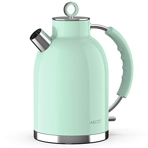 Electric Kettle,ASCOT Electric Kttle Stainless Steel Tea Kettle Fast Boiling Water Heater 1.7L, 1500W, BPA-Free, Cordless, Automatic Shutoff, Boil-Dry Protection, Green