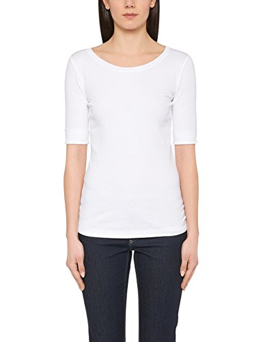 Marc Cain Essentials Damen T-Shirt +E4809J50, Weiß (White 100), 44 (6)