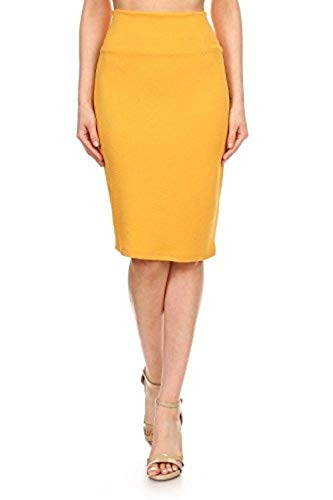 MissMissy Womens Business Office Casual Stretch High Waist Solid Print Pencil Skirt Q1021-2 (Solid_Mustard, Large)