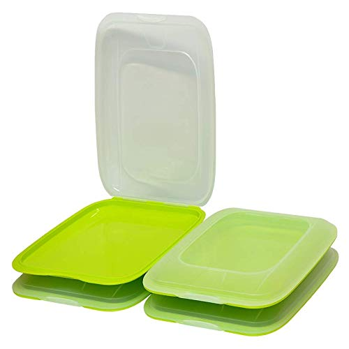 4X stapelbare Aufschnitt-Box Frischhalte-Dose Wurst Käse Behälter Aufschnitt-Dose Farbe grün
