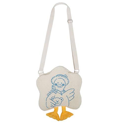XUNXI Novelty Crossbody Bag, Women Girl Plush Shoulder Crossbody Bag Cute Embroidery Shopping Bags Satchel Messenger Tote Purse