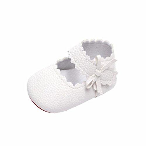 Zapatos de Bebe Niñas Recién Nacido Primeros Pasos Antideslizante Suela Blanda Zapatos de Princesa (12-18 Meses, Blanco)