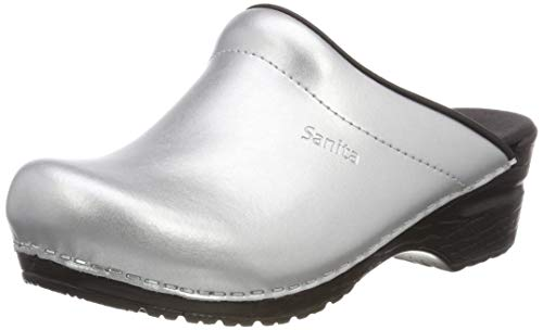 Sanita Damen Sonja PU Open Clogs, Silber (Silver 16), 38 EU