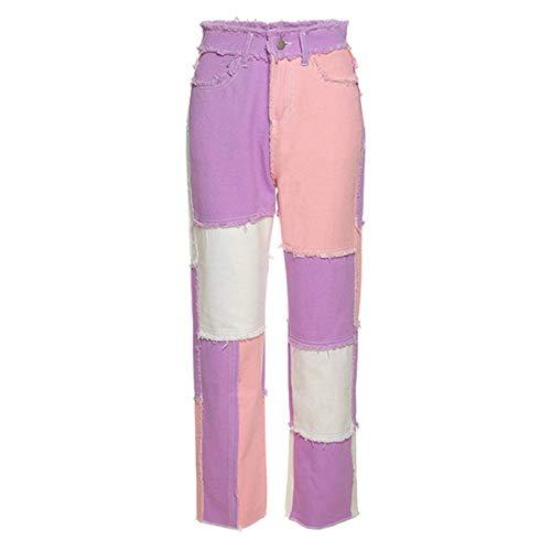 Dong Ying Pantalones de Cintura Alta para Mujer Y2k, Pantalones de Pierna Recta de Hip-Hop, Pantalones de Mujer Informales Retro con diseño de Retazos