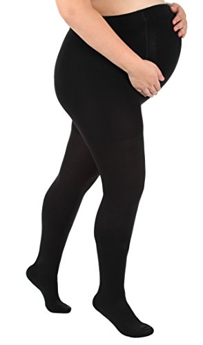 Absolute Support - Made in USA - Opaque Maternity Compression Stockings Pantyhose 20-30mmHg for Women Circulation - Black, Medium