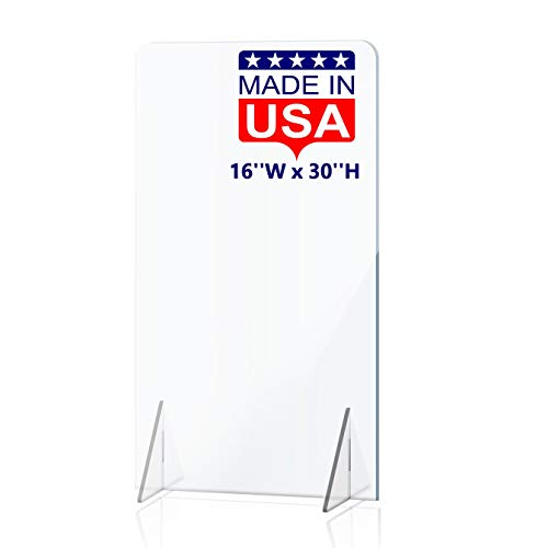 NO Cutout Sneeze Guard for Counter and Desk - NO Hole Freestanding Clear Acrylic Shield for Business and Customer Safety, Portable Plexiglass Barrier for School Desk, Office Table (16'W x 30'H)