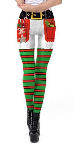 MTFS Damen Weihnachten Elastic Leggings Pants (Sterne Streifen, S)
