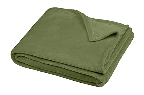 TIENDA EURASIA Mantas para Sofá de Terciopelo - Manta Multiusos - Material 100% Microfibra - Tacto Suave y Sedoso - Disponibilidad en 6 Colores y 3 Tamaños (Kaki, 125 X 150 CM)