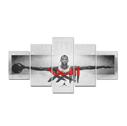 DPFRY Cuadro En Lienzo Michael Jordan Poster Y Wall Art Boy Dormitorio Gimnasio Decoración para El Hogar Tfk8W 150X100Cm 5 Pcs/Set Sin Marco