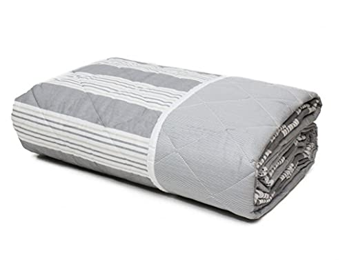 Trapuntino leggero letto copriletto in puro cotone Made In Italy SINGOLO RIGHE GRIGIO