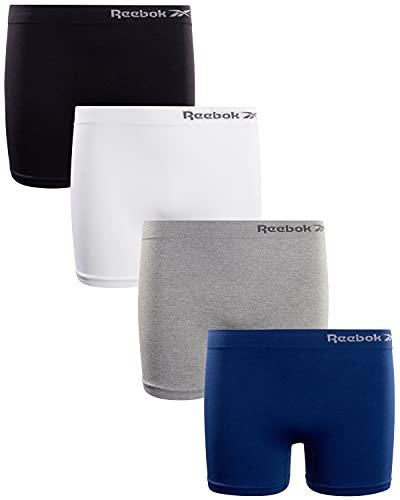 Reebok Girls' Underwear – Seamless Cartwheel Shorties (4 Pack), Size Medium/8-10, Black/White/Grey/Navy