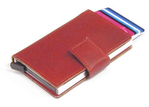 Figuretta RFID Leder Kartenetui mit Aluminium Hardcase Geldb/örse Portemonnaie LD