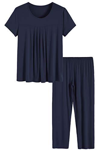 Latuza Women's Pleated Shirt and Pants Pajamas Set 2X Navy