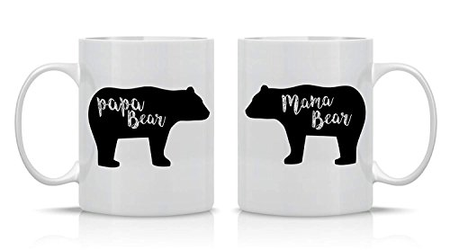 O5KFD & 8 11 ounce koffiemok hoogwaardige keramiek retro stijl beker - mama beer, papa beer paar beker - grappige set beker - mokken voor vriend en vriendin en man en vrouw