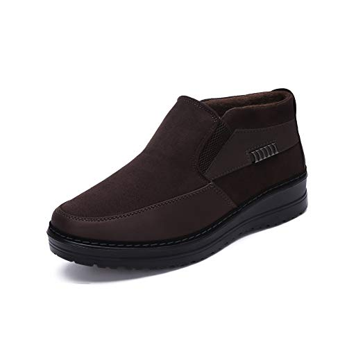 Men's Snow Boots Moccasins Slippers Plush Loafers Warm Lined Driving Indoor Outdoor Winter Non-Slip Elderly Walking Sneaker Shoes(9 M US,26 cm Heel to Toe Brown