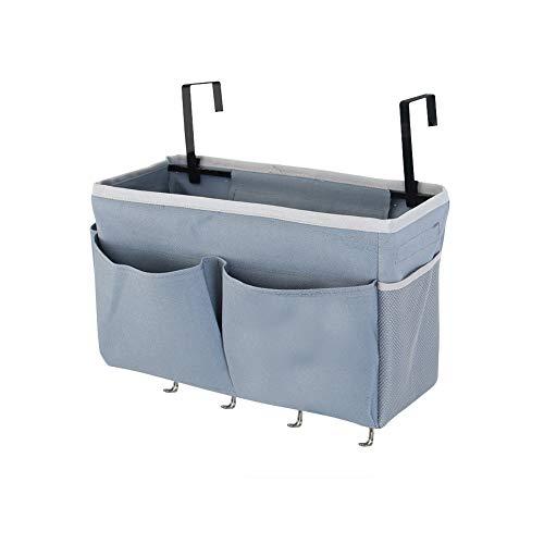 Frjjthchy Bedside Storage Organizer 5 Pockets with 4 Hooks Hanging Storage Bag for Headboards/Bunk Bed (Grey)