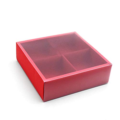 BBC 4 Cavity Red Cake Box With Transparent Lids, Gift Packaging Boxes For Moon Cake/Cookie/Candy/Soap, 10 Sets (A)