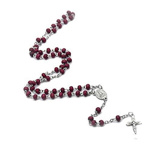 Collar De Rosario con Cuentas Perfumadas De Rosa, Colgantes Cruzados, Collares De Nuestra Señora De Fátima, Joyería Religiosa, Recuerdo De Oración De La Iglesia