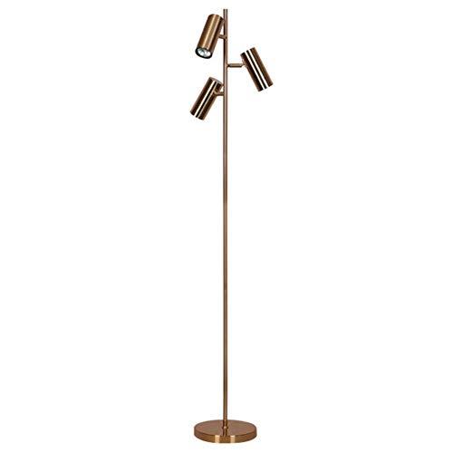 CWJ Lámpara de pie Hierro forjado de cobre cromado antiguo Ajustable 3 cabezas Foco LED Lámpara de pie de hotel simple moderna 1.55M con interruptor de pie para sala de estar Dormitorio Oficina Hermo