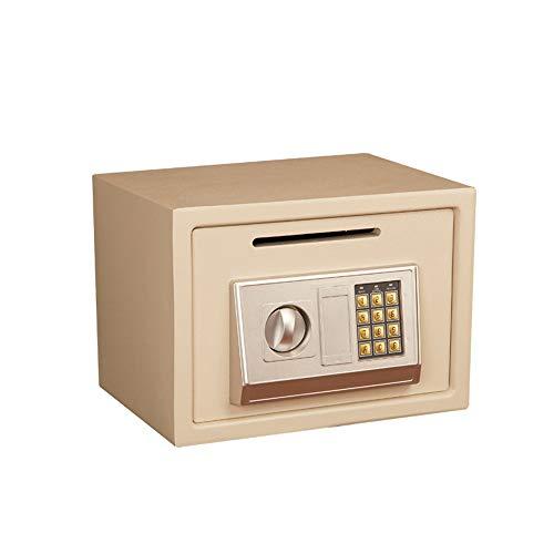Caja de seguridad con monedas, para hoteles, hoteles, hoteles, electrónicos, contraseñas, caja fuerte, para joyas, efectivo, portátil, oficina, hogar, color beige, tamaño: talla única