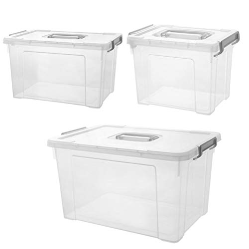 Cabilock 3pcs Plastic Storage Box with Latching Handles and Plastic Strap Transparent Clear Thick Waterproof 3Size Storage Bin Organizer Case for Home Office Daily Stroge