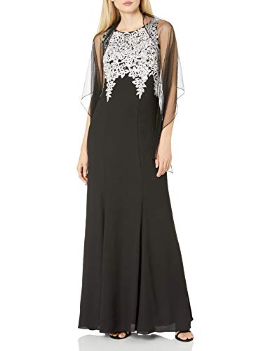 Alex Evenings Women's Long Embroidered Dress with Shawl, Black/White, 12 (Apparel)
