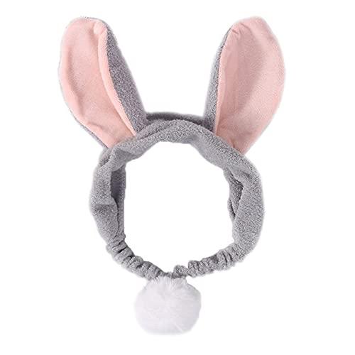 XiaoYing Herramientas de maquillaje Orejas de conejo grandes de piel sintética diadema de terciopelo para mujer suave y elástica bufanda de lavado facial (color: gris, tamaño: M)