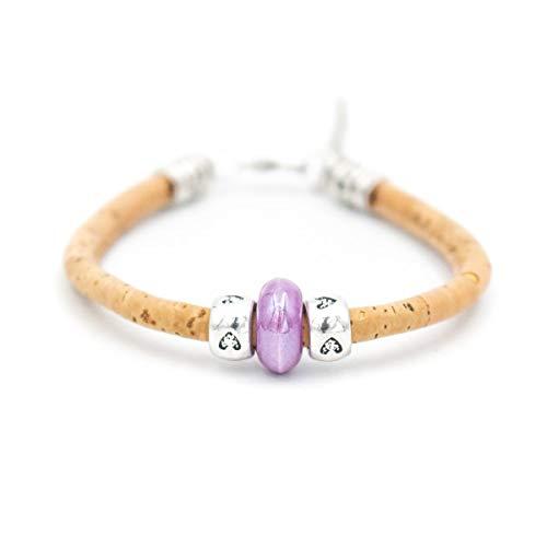WAY2BB - Bracelet en liège naturel et perles céramiques colorés idée cadeau fête des mères Vegan (mauve)