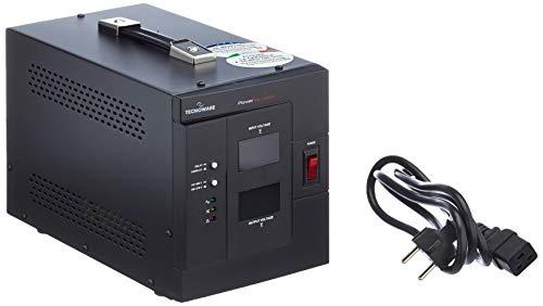 Power Reg - Estabilizador Electrónico Monofásico de Oficina - Estabilización ± 8% - Entrada Cable con Enchufe SCHUKO, 2 Salidas (1 SCHUKO/Italia y 1 IEC) - Potencia 3000 VA