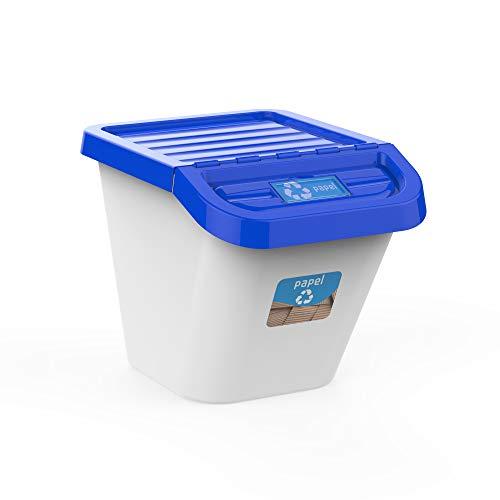 USE FAMILY-Gama Recycle. Cubos de Basura de Reciclaje para Cocina apilables. Juego de 3 contenedores 30L (azul)
