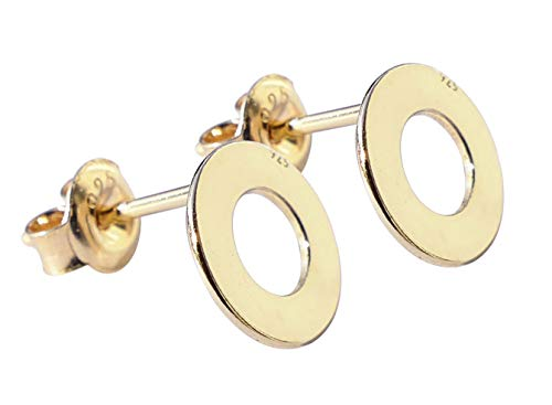 Ah! Jewellery Ladies Vermeil; 24K Yellow Gold Over Sterling Silver 8mm Stud Earrings. Stamped 925. Appealing Open Circle Design.