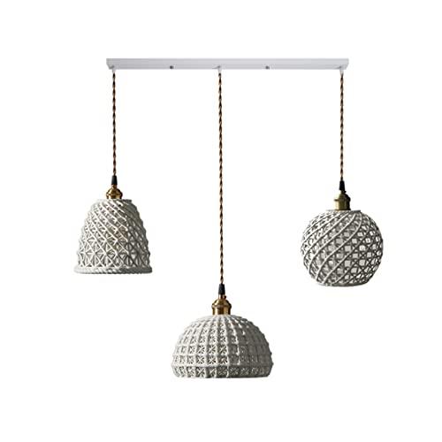 CHGNYLL Candelabro de cerámica de Estilo japonés, luz Colgante de Fuente de luz E27, luz Colgante de latón de una Sola Cabeza con Rayas Retro nórdicas