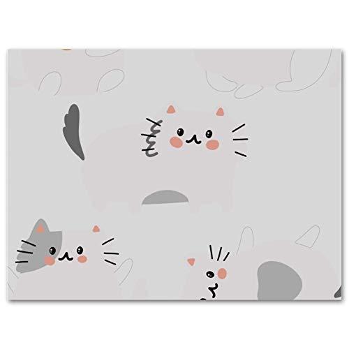 Vockgeng Wandkunst für Wohnkultur Cartoon Katze Schwarz Weiß Bunter Ölgemälde-Plakat-Druck auf Leinwand-Wandkunstdekoration gestreckte und gerahmte Malerei 35x50 cm