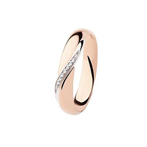 Fede Matrimoniale Polello Diamanti Kt. 0.03 Oro Rosa E Bianco Gr.5 Mm.3.8