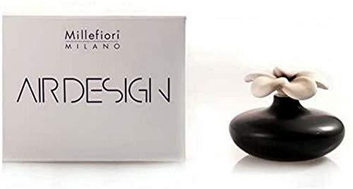 Millefiori Blume Zierdiffusor Air Design 2-teilig, Keramik, Schwarz/weiß, 11.7 x 11.8 x 17.7 cm